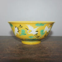 "5.9"" Good Chinese Yellow Glaze Porcelain Knife Engraving Red-crowned Crane Bowls"