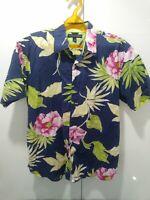 TOMMY HILFIGER Men's Short Sleeve Button Up Shirt HAWAIIAN FLORAL XL BLUE ~$59