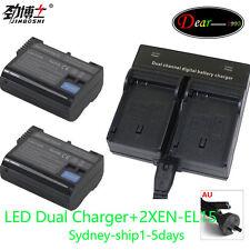 LCD Charger+2xBattery for EN-EL15 Nikon D7000 D7100 D800 D800E D600 D610 AU-ship