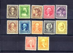 US Stamps - #704-715 - MH - 1/2 - 10 cent Washington Bicent. Issues -  CV $20