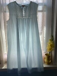 Barbizon Vintage Nightgown Blue/White Sleeveless Lace Ruffle Buttons Women's XL