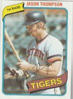 FREE SHIPPING-MINT-1980 TOPPS #150 JASON THOMPSON TIGERS (FACSIMILE AUTOGRAPH)