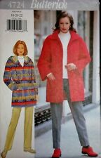 Butterick 4724 Hoody Jacket Coat & Pants Easy Vtg Sewing Pattern Size 18-22 FF