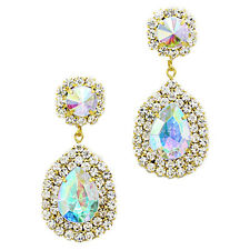 Sparkly Teardrop Earrings Long Diamante Rhinestone Jewellery Proms Brides 0268 Gold AB