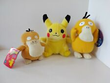 Vintage 1999 2000 Pokemon Plush Set of 3, Psyduck with Tag 2x and Pikachu