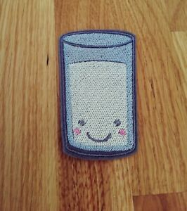 Kawaii cute glass of milk embroidered iron on patch 85mm tall