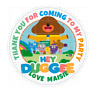 HEY DUGGEE Personalised 60mm Round Stickers Birthday Party Circle Labels
