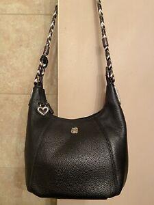 The Brighton Collection Pebbled Leather Hobo Shoulder Bag Black