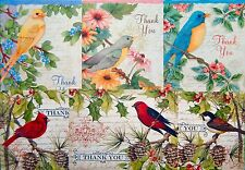 BIRD MOTIF THANK YOU CARDS * BLUEBIRD * CARDINAL * FINCH * ROBIN * SHIPPED FAST!
