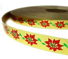 """Only .20/yd! 5 Yds Christmas Red Poinsettia Gold Acetate Ribbon 3/4""""W"""