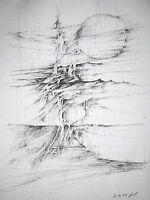 """THOMAS HOLSTEIN - Aquarell/ Federzeichnung: """" LANDSCHAFT II """""""