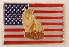 Hat Lapel Push Tie Tac Pin patriotic U S Flag and Wolf NEW