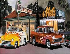 50'S DINER CARS GAS STATION  MOUSE PAD  IMAGE FABRIC TOP RUBBER BACKED