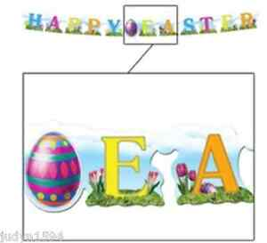 HAPPY EASTER JOINTED BANNER STREAMER HANGING PARTY DECORATION PROP