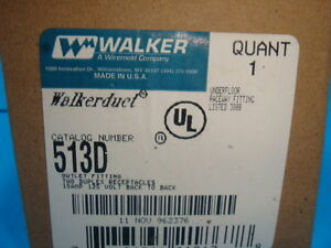 New Walkerduct 513D Outlet Fitting Two Duplex Receptacles New In Box