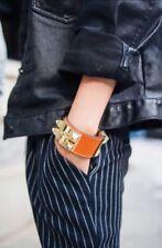 HERMES Collier de Chien Palladium Plated Orange Leather Bracelet