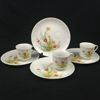 VTG Set of 4 Snack Plates and 3 Cups by Hearthside Petit Floras S-1424 JAPAN