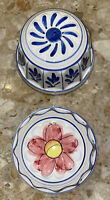 """2 Vintage Ceramic Hand Painted Floral Jello Mold Wall Hanging 6.5x3.75"""""""