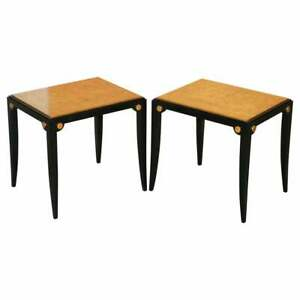 RRP £11,000 PAIR OF BIRDS EYE MAPLE GOLD LEAF PAINTED TOPS SIDE END WINE TABLES