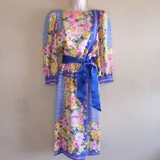 Vintage 80's Diane Dickinson Gentillesse Floral Plaid Secretary Silk Dress Small