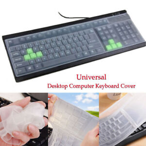 Universal Clear Keyboard Skin Protector Silicone Cover for PC Computer Desktop~
