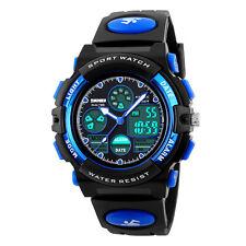 Child Boys Girls Kid Digital LED Sport Analog Alarm Date Quartz Wrist Watch Blue