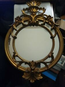 """VTG Mirror Gold Italy Ornate Wall Round 22"""" X 14.25"""" Nice !"""