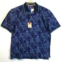 Robert Graham Mens XL Short Sleeve Paisley Polo Shirt Cotton Blue Dorado