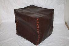 Square Goat Leather Ottoman Pouffe Pouf Hamdmade Brown Pouf