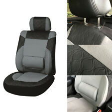 Car Front Single Seat Cover PU Leather + 3MM Sponge Black + Gray Pad Comfortable