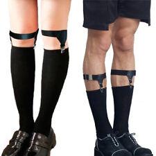 1 Pair Adjustable Elastic Women Men Uniform Sock Garters Holder Suspender Black