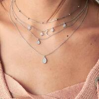 Boho Multilayer Star Moon Pendant Necklace Crystal Choker Women Fashion Jewelry