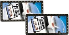 2 Black Matt Stahl Metall Nieten Kennzeichenhalter für Kanada Car-Truck