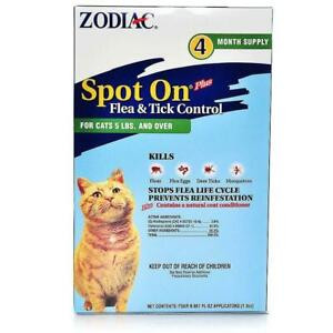 Zodiac Flea & Tick Spot On for Cats 5lbs & Over 4 month supply