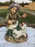 Norleans Japan Old Woman Feeding Chickens Figurine