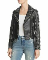 New Adelia Black Punk Real Leather Jacket Silver Studded Leather Jacket All Size