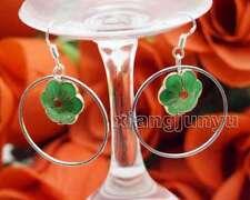 SALE Beautiful Big Green 14mm Flower Cloisonne and 28mm Metal Ring Earring-ea634