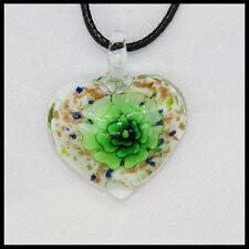 Fashion Women's heart lampwork Murano art glass beaded pendant necklace #A28