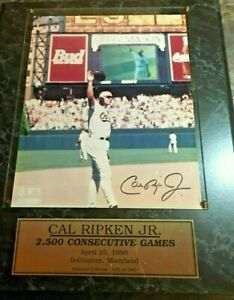 Cal Ripken Jr. 2500 Consecutive Games Photo Plaque Signed Number 157 of 980