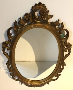 "Vintage Syroco Mirror Hollywood Regency Gold Flower Filigree Frame 25.5""x16"" MCM"