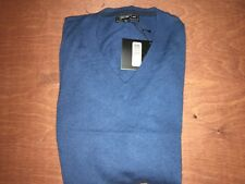 SAKS FIFTH AVENUE Cashmere Men's V Neck Knitted Sweater Sapphire Large Lge L New