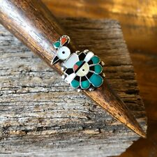 Vintage Sterling Silver Zuni Native American Multi Stone Thunderbird Ring 7.75