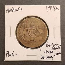 """1918M AUSTRALIA 1 FLORIN - U.S. NAVY TOKEN - """"BENJAMIN NICHOLS 11/3/20"""" WW1"""
