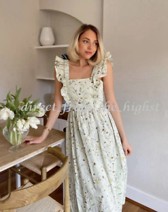 H&M  Wildflowers Collection Light Green Floral Poplin Dress Sizes XS_S_M_L