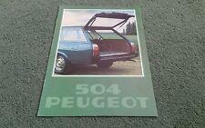 1978 PEUGEOT 504 L GL famille Estate Essence & Diesel 8/77 - Brochure Couverture Vert