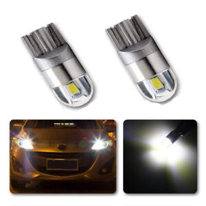 2x T10 W5W 501 Canbus LED Bulbs COB SMD 3030 Bright White Car Lights Error Free