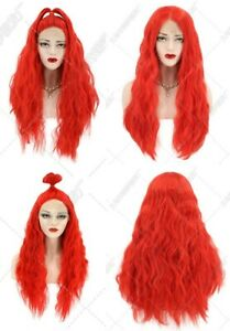 24inch Synthetic hair Lace front wigs Red Handtied Daily use Long Wavy