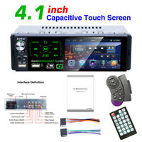 4.1'' 1DIN Stereo Radio Bluetooth FM Dual USB MP5 Player Steering Wheel Control
