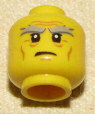 LEGO MINIFIGURE HEAD OLD WITH WINKLES AND GREY BUSHY EYEBROWS NINJAGO SENSEI