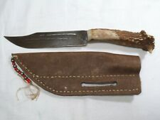 Vintage handmade Custom Hunting Knife- Stag Horn Handle-Leather Sheath -Bowie-